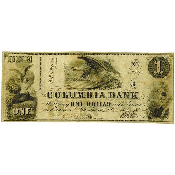 Washington, D.C. Columbia Bank, 1852, Obsolete Banknote