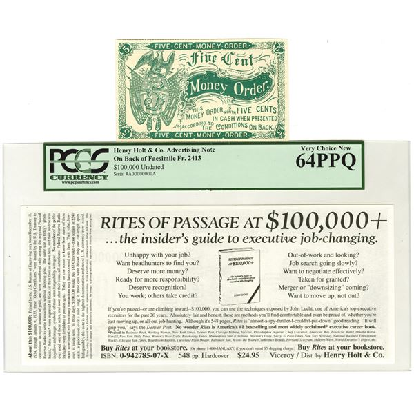 Henry Holt & Co. 1934 Advertising Note & 5 Cent Money Order Pair