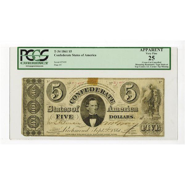 C.S.A., 1861, $5, T-34, PCGS VF 25.