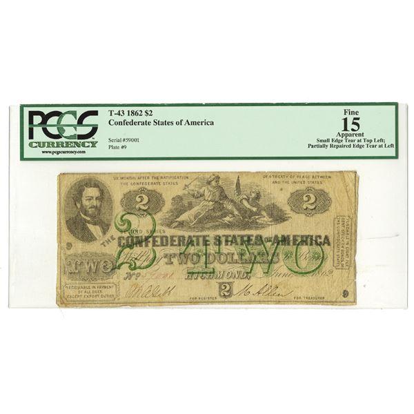 C.S.A., 1862, $2, T-43, PCGS Fine 15.