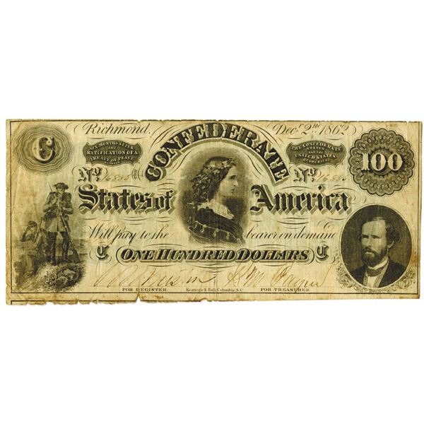 C.S.A., 1862, $100, T-49 Issued Banknote.