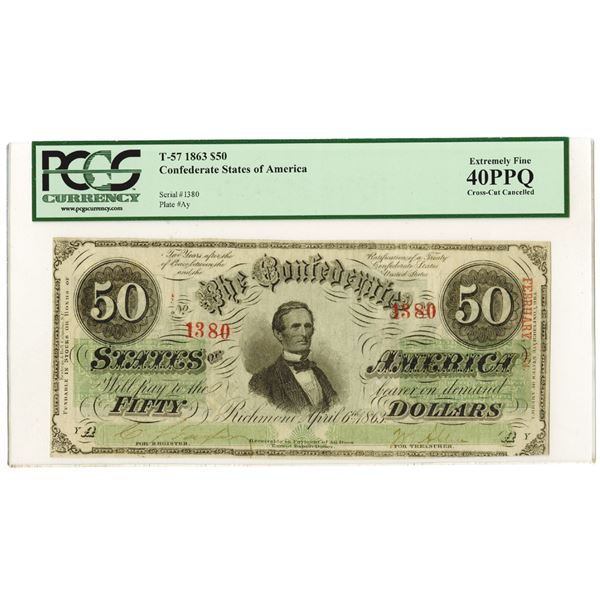 C.S.A., 1863, $50, T-57, PCGS EF 40 PPQ, Low Serial Number 1380.