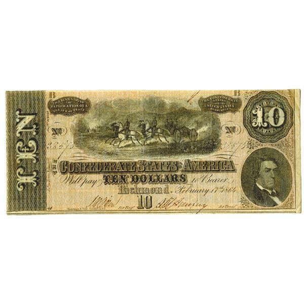 C.S.A., 1864, $10, Confederate Error Banknote