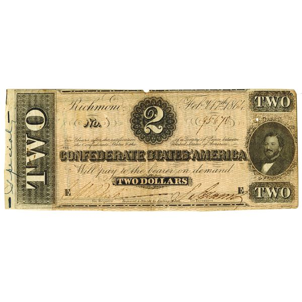 C.S.A., 1864, $2, Confederate Treasury Note with Poem