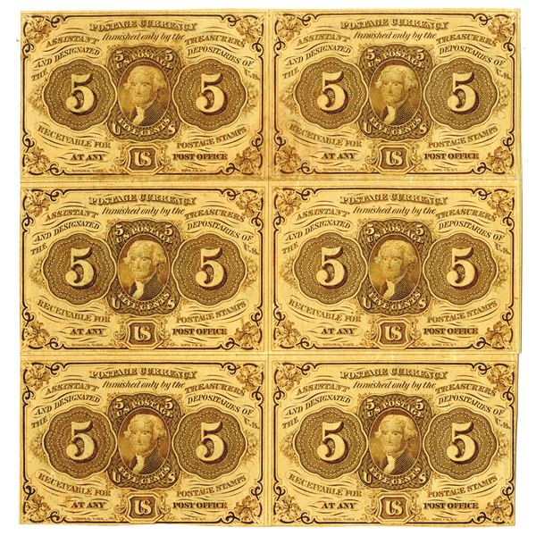 U.S. Fractional Postage Currency, 5 Cents First Issue Imperforate Block of 6 With Monogram.
