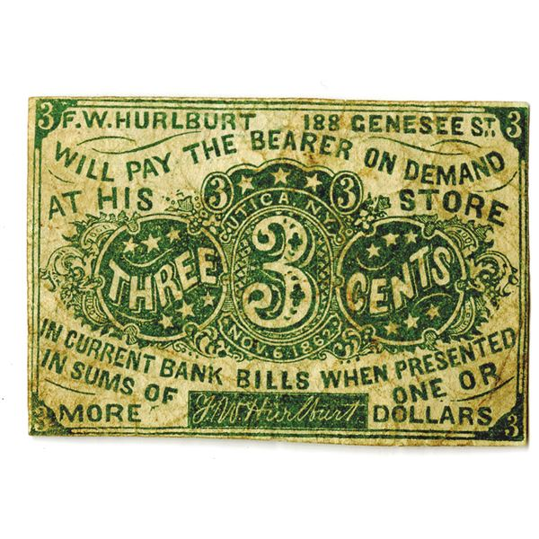 """F. W. Hurlburt's Store, 1862 Fractional Currency """"Look-a-like"""" Scrip Note"""