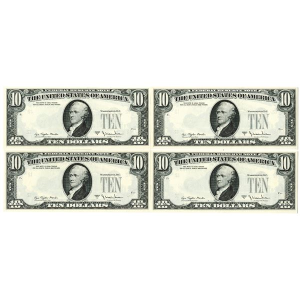 F.R.N., $10, Series 1977 A, Consecutive Error Quartet With 3rd Printing on Backs.
