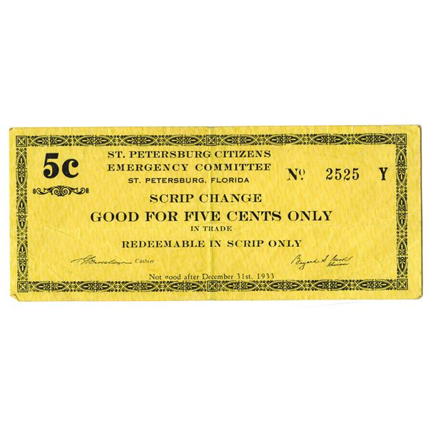 St. Petersburg, Florida Citizens Emergency Committee, 1933 Depression Scrip Note