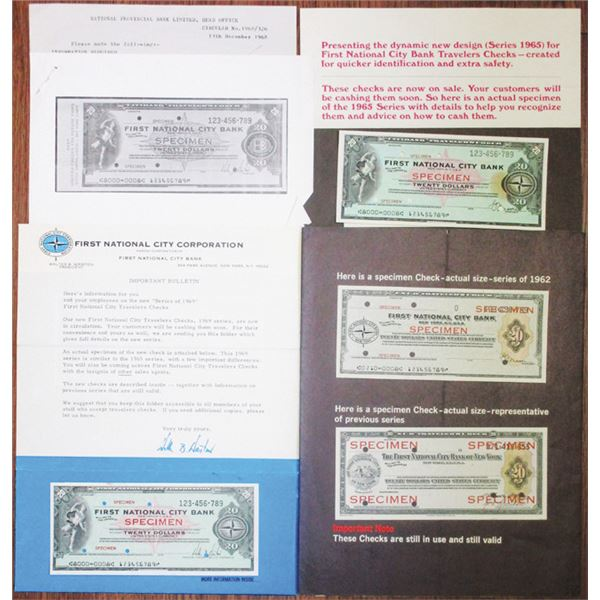 First National City Bank 1960s Specimen Check Production Group Lot