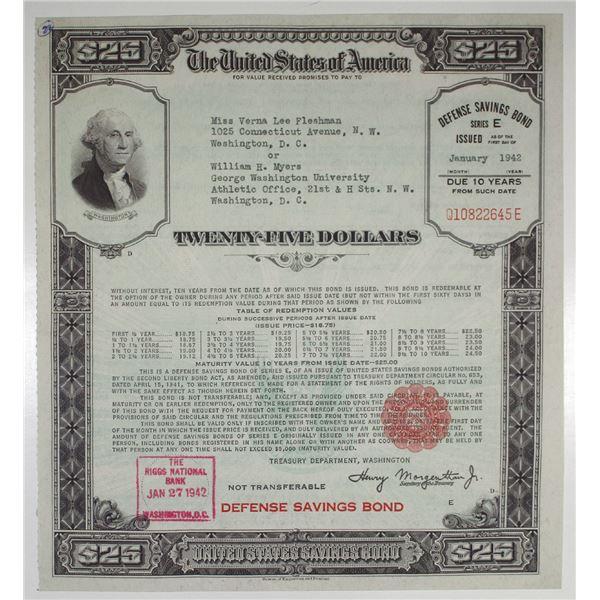 $25 United States Defense Savings Bond, Issued 1942, Large Size