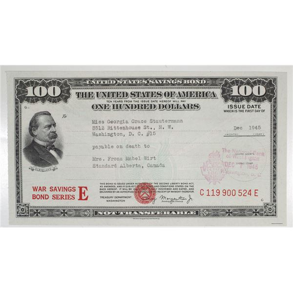 United States War Savings Bond, Issued 1945, Small Size Issued on the 4 Year Anniversary of Pearl Ha