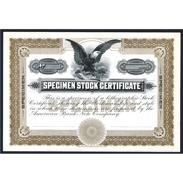 """Specimen Stock Certificate"" American Bank Note Company ca.1900 Advertising Stock Certificate."