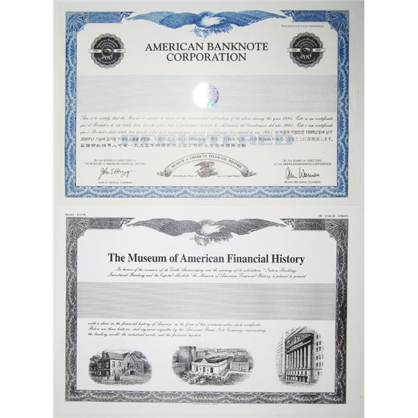 American Banknote Corp. 1995 Bicentennial Stock Certificate & Facsimile Copy of American Museum of F