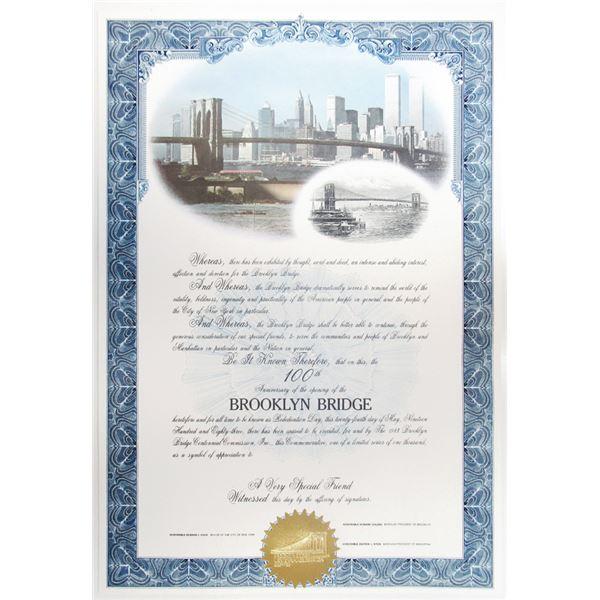 Brooklyn Bridge 100th Centennial Celebration Certificate, 1983
