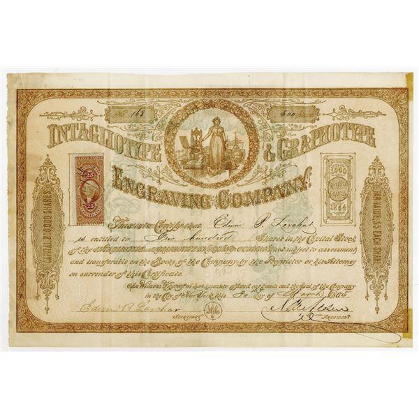 Intaglio type & Graphotype Engraving Co. , 1865 I/U Stock Certificate.