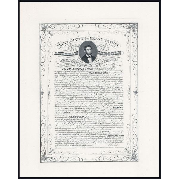 Lincoln's Portrait over 1864 Micro-Engraved Proclamation of Emancipation Proof.