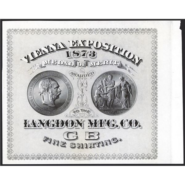 Vienna Exposition 1873 Proof Medal of Merit Textile Label From ABNC Archives.
