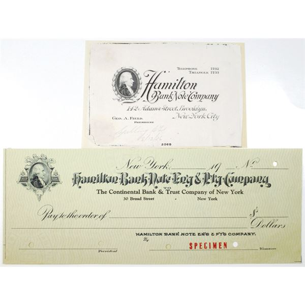 Hamilton Bank Note Co., 1900-20's Specimen Check and Advertising Business Card
