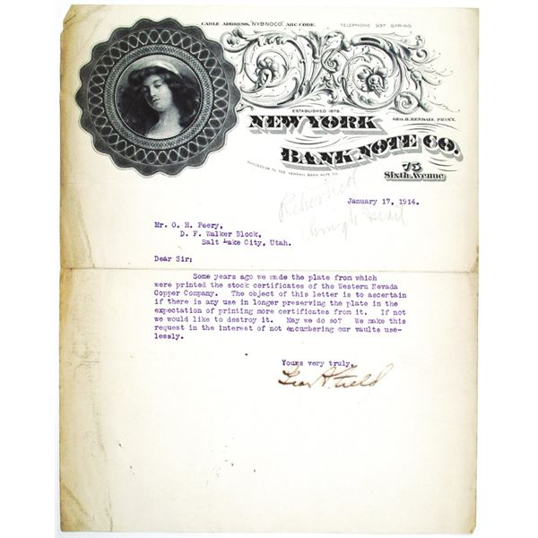 New York Bank Note Co. 1914 Ornate Letterhead with Typewritten Correspondence
