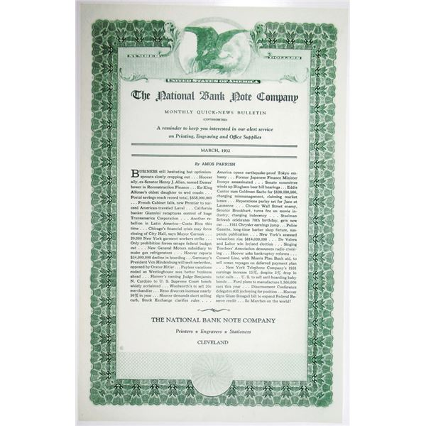 National Bank Note Co. 1932 Monthly Quick-News Bulletin