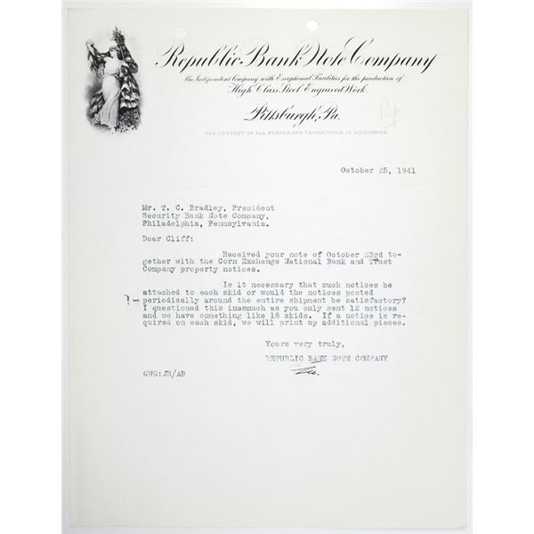 Republic Bank Note Co. 1941 Ornate Letterhead with Typewritten Correspondence