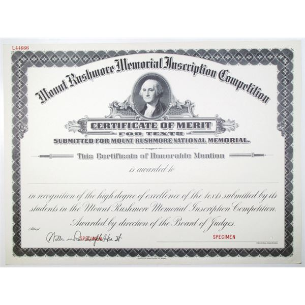 Mount Rushmore Memorial Inscription Competition Specimen Certificate