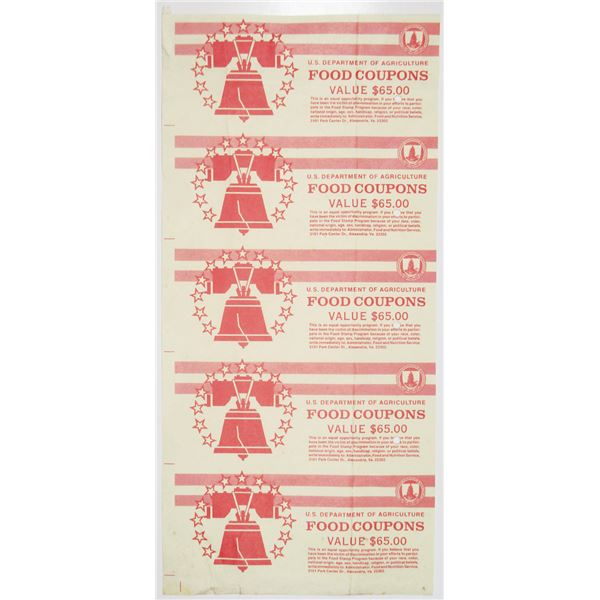 U.S. Department of Agriculture Uncut Specimen Quintet of Food Coupon Covers ca.1960-70's.