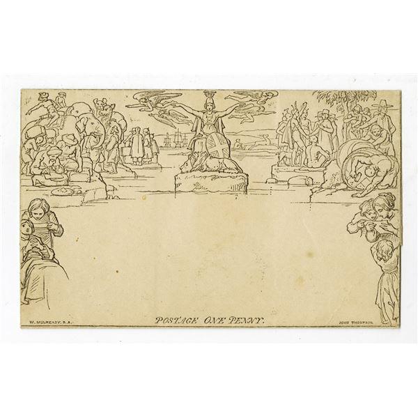 Unused 1840 Mulready To-Be-Folded Envelope