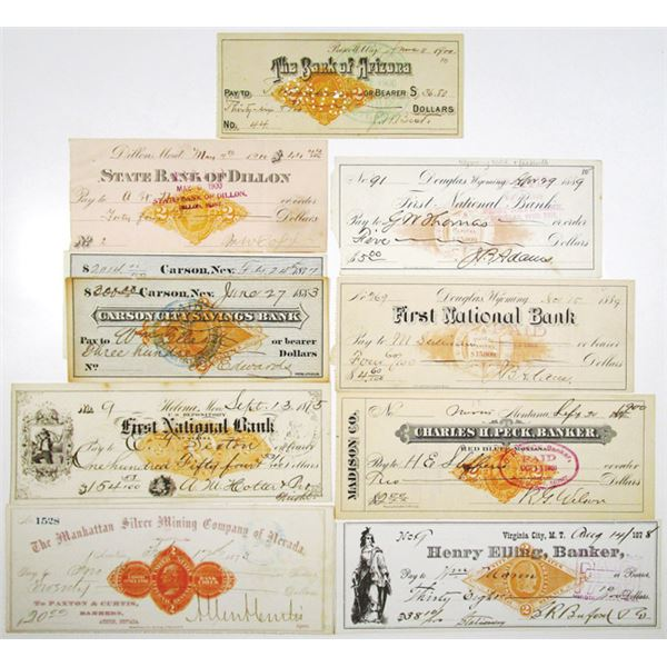 Western States Group of 10 Issued Bank Checks, All with Imprinted Revenues or Facsimile Revenues, ca