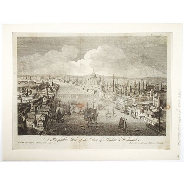 Cities of London & Westminster, A 1783 Perspective View of Both Cities.