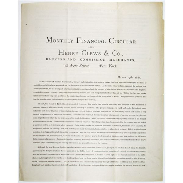 Monthly Financial Circular of Henry Clews & Co., 1883 Edition