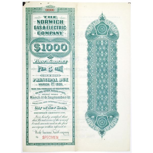 Norwich Gas and Electric Co. 1901 Specimen Bond Offering