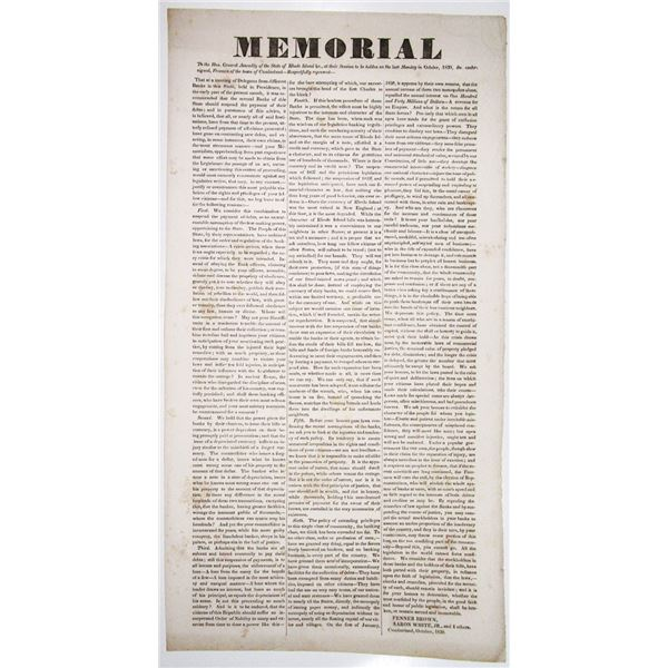Memorial - To the General Assembly of the State of Rhode Island, 1839 Broadside Related to the After
