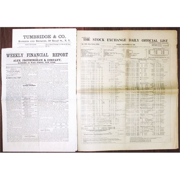 Stock Exchange & Financial Newspapers, ca. 1876-1978 with Stock Certificate Lists of Prices.