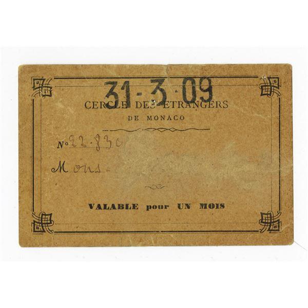Monaco Casino, 1909 Casino Pass