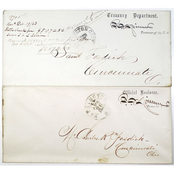 Francis E. Spinner Autograph Pair, Hand Written and printed Official Business Envelope as Treasurer