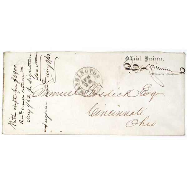 Francis E. Spinner Hand Written Autograph Official Business Envelope as Treasurer of the U.S., 1862.