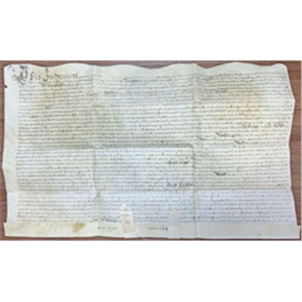 New York City, 1719 Land Deed Issued to Abraham de Peyster