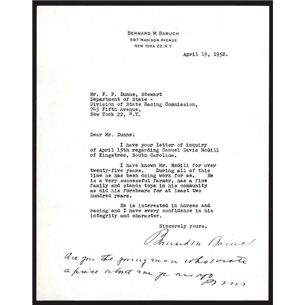 Bernard Baruch Signature on his Personal Letterhead dated 1952.