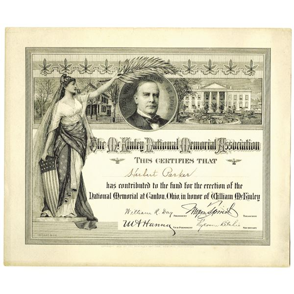 McKinley National Memorial Association, 1901 Issued Contribution Certificate