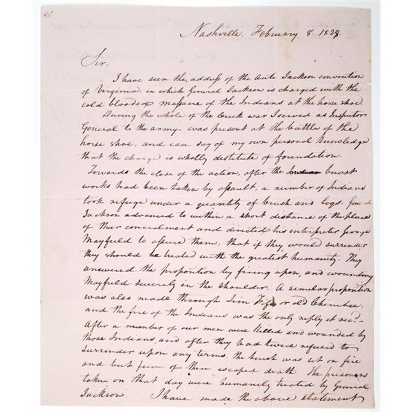 William Carroll 1828 Hand Written Regarding General Andrew Jackson's Actions in the Battle of Horses