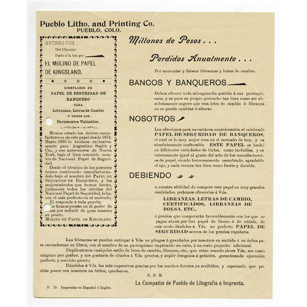 Pueblo, Colorado Printing, Spanish Broadside 1896-1900