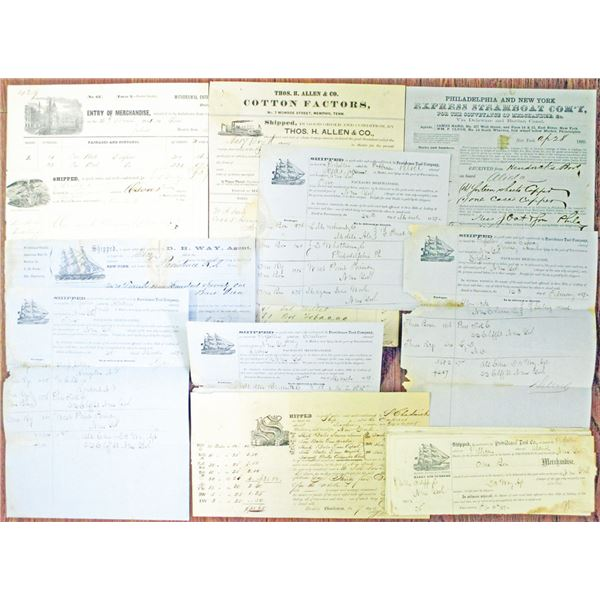 North Eastern Shipping Document Assortment, Large Group of Shipment Documents, ca. 1850s-1870s