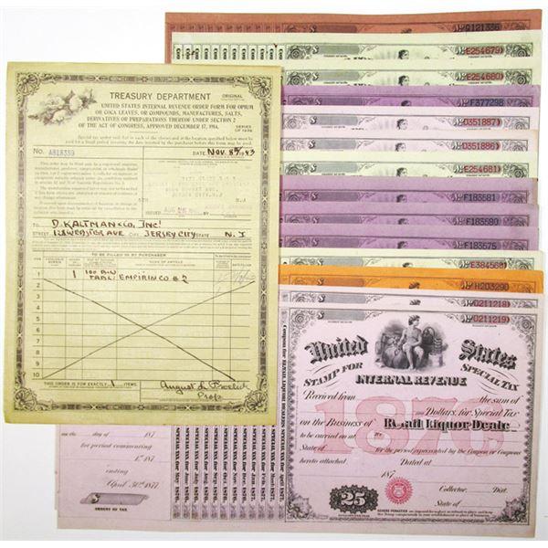 Internal Revenue Stamps for Special Tax & Treasury Department Ephemera, ca. 1870-1943