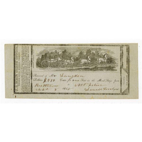 Vermont U.S. Mail Coach Receipt, ca.1848