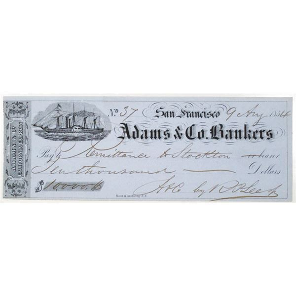 Adams & Co. Bankers, California Express, 1854 Issued Check