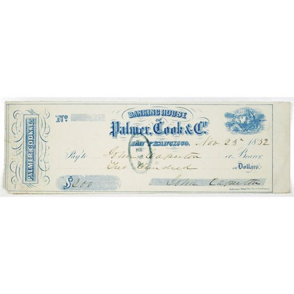 Banking House of Palmer, Cook & Co. 1852 Issued California Gold Rush Era Check