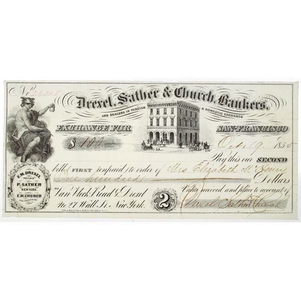 Drexel, Sather & Church, Bankers 1855 Issued Second Exchange