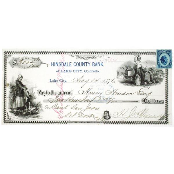 Hinsdale County Bank of Lake City, Colorado 1876 I/C Western BNC Printed Check