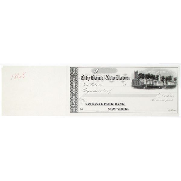 City Bank of New Haven 1868 Proof Check With Yale University Buildings.